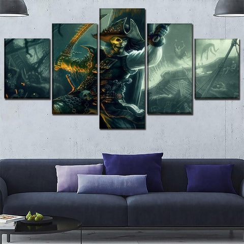 5 Panel Pirates of The Caribbean Zombie Modern Décor Canvas Wall Art HD Print