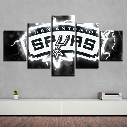 5 Panel San Antonio Spurs Modern Decor Canvas Wall Art HD Print