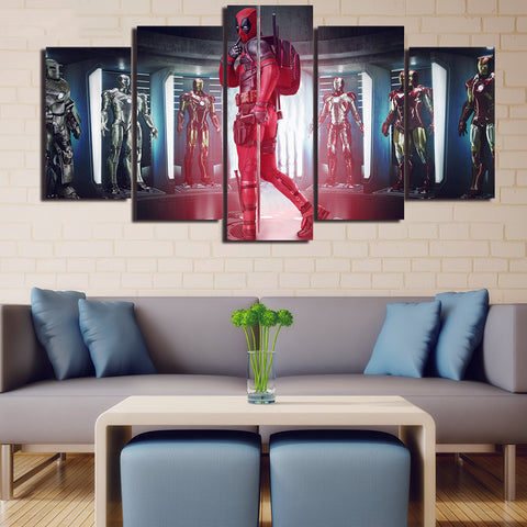 5 Panel Deadpool With Ironman Suit Modern Decor Canvas Wall Art HD Print