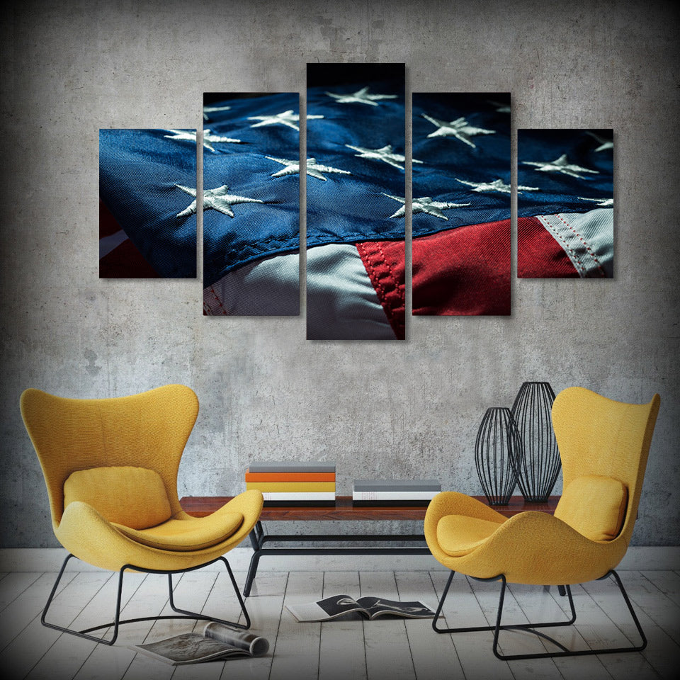 5 Panel American Abstract Flag Modern Décor Wall Art Canvas HD Print