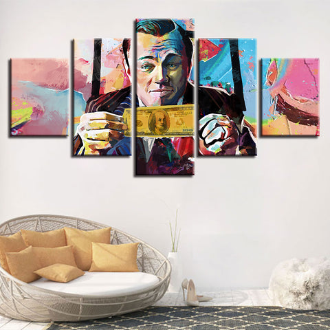 5 Panel Wolf of Wall Street Movie Painting Modern Décor Wall Art Canvas HD Print