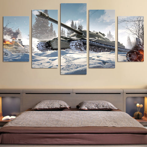 5 Panel WWII Russian IS3 Tank in Snow Battle Modern Decor Canvas Wall Art HD Print