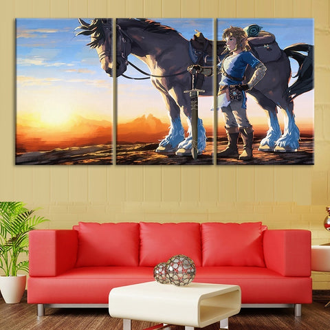 3 Panel Framed Game Legend of Zelda Modern Décor Canvas Wall Art HD Print