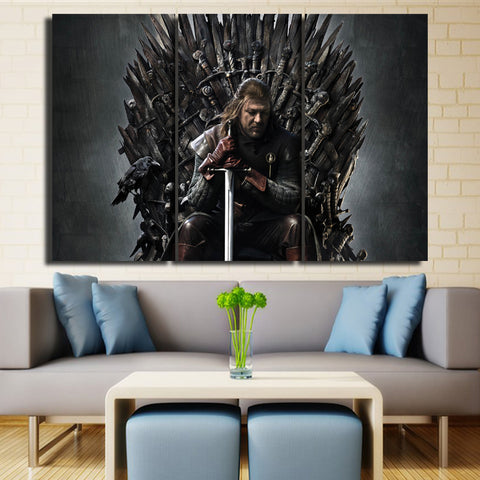 3 Panel GOT Edward Stark on the Throne Modern Decor Canvas Wall Art HD Print