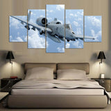 5 Panel A-10 Warthog Plane Above Clouds Modern Décor Wall Art Canvas HD Print