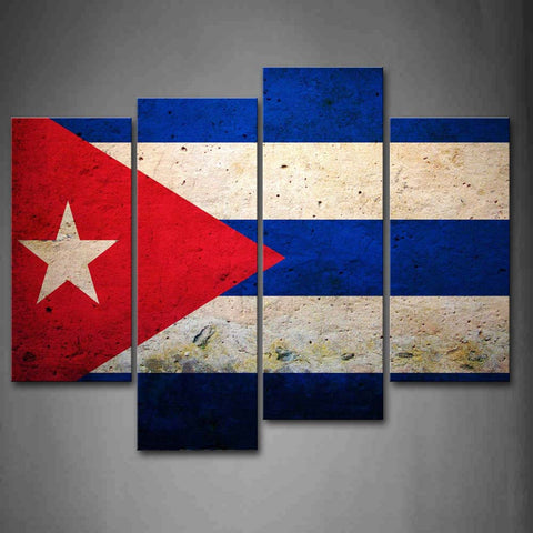 4 Panel Cuban Flag Modern Décor Canvas Wall Art HD Print