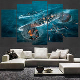 5 Panel Jap Zero's Bombing US Battleship Modern Décor Wall Art Canvas HD Print