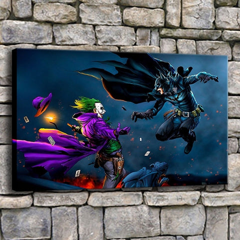 Batman Vs Joker Comic Painting Modern Décor Wall Art Canvas HD Print