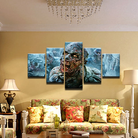 5 Panel Walking Dead Zombies Modern Décor Canvas Wall Art HD Print