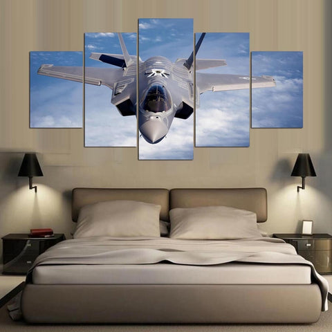 5 Panel F-35 Lightning Plane Photo Modern Décor Wall Art Canvas HD Print