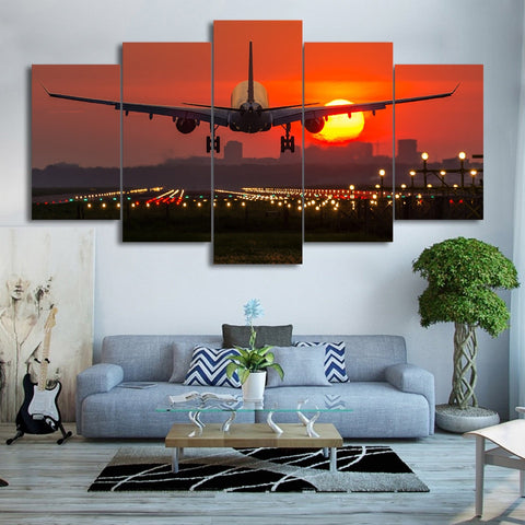 5 Panel Plane Landing in a Red Sunset Modern Décor Wall Art Canvas HD Print