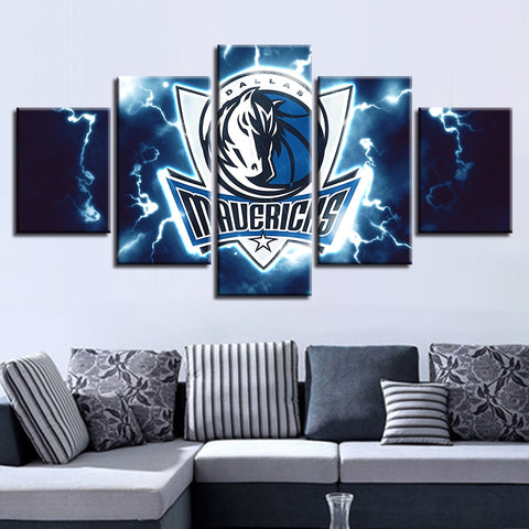 5 Panel Dallas Mavericks Decor Canvas Wall Art HD Prints