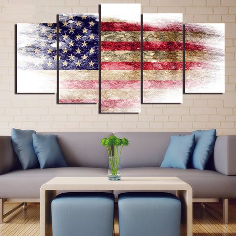 5 Panel Vintage American Flag Modern Décor Wall Art Canvas HD Print