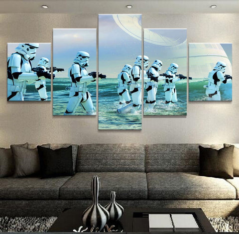 5 Panel Star Wars Stormtroopers Advancing Modern Decor Canvas Wall Art HD Print
