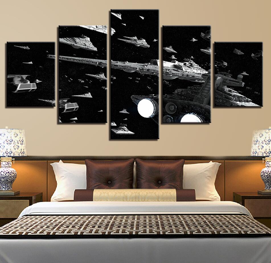 5 Panel Framed Star Wars Glorious Imperial Fleet Modern Decor Canvas Wall Art HD Print