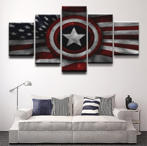 5 Panel Framed USA Captain America Shield Modern Décor Canvas Wall Art HD Print