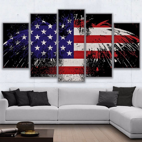 5 Panel Eagle As American Flag Modern Decor Canvas Wall Art HD Print