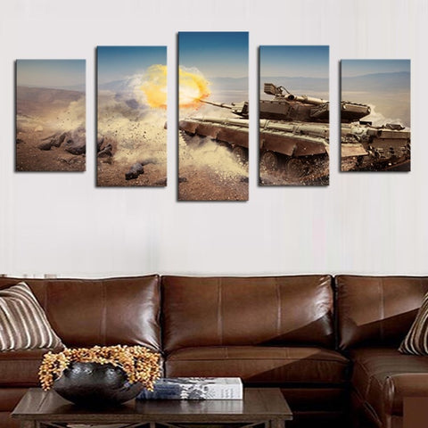 5 Panel M1A1 Abrams Battle Tank Firing Modern Décor Wall Art Canvas HD Print