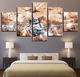 5 Panel Framed Star Wars Clone Wars Battle Modern Decor Canvas Wall Art HD Print