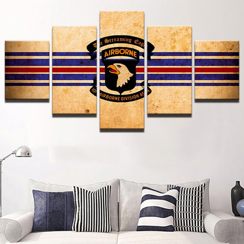5 Panel 101st Airborne Division Insignia Modern Décor Wall Art Canvas HD Print