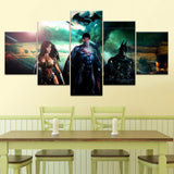 5 Panel Framed Batman Wonder Woman Superman Modern Canvas Wall Art HD Print