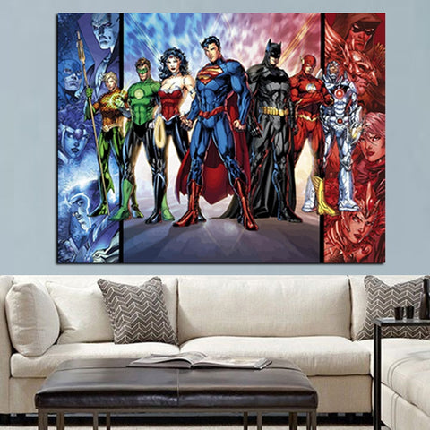 Justic League Superman-Batman-The Flash-Cyborg-Wonderwomen-The Green Latern-AquaMan Modern Decor Canvas Wall Art HD Print