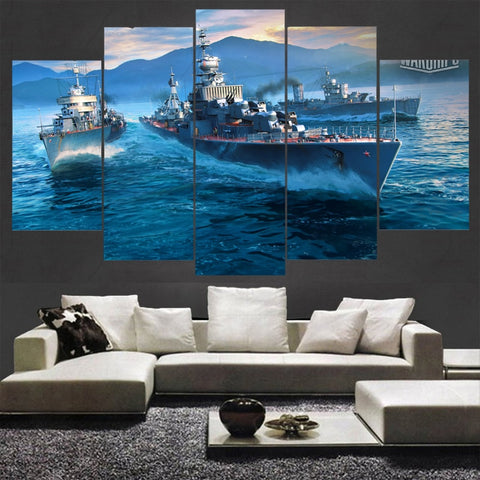 5 Panel World of Warships Modern Décor Wall Art Canvas HD Print