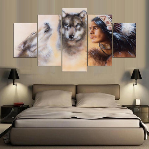 5 Panel Wolves & Native American Indian Modern Décor Wall Art Canvas HD Print