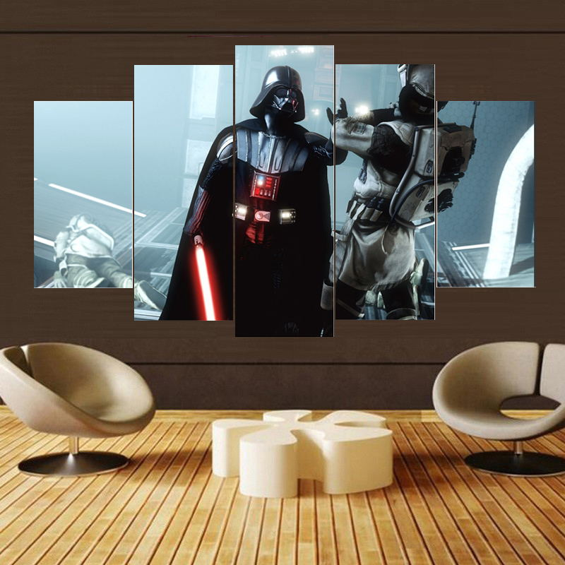 5 Panel Star Wars Darth Vader Attacking Rebels Modern Canvas Wall Art HD Print