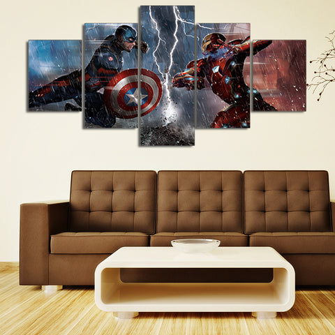5 Panel Captain America & Ironman Modern Decor Canvas Wall Art HD Print
