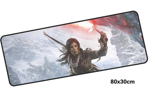 Tomb Raider Lara w/ Flare Large Mouse Pad 800x300mm Best PC Gaming Pad HD Print