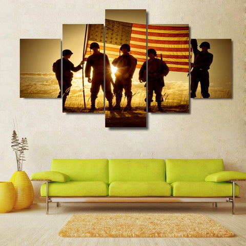 5 Panel Soldiers with American Flag Modern Decor Canvas Wall Art HD Print