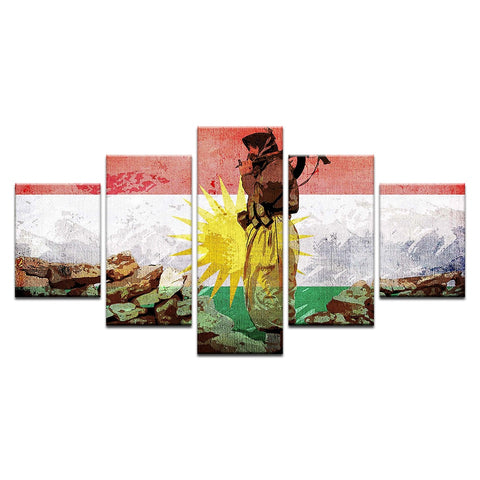 5 Panel Framed Kurdistan Flag & Soldier Modern Décor Canvas Wall Art HD Print