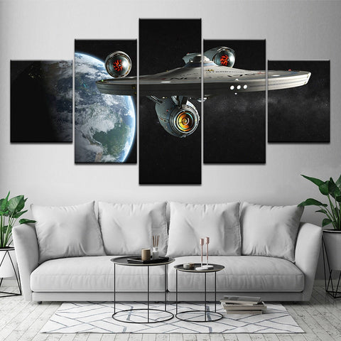 5 Panel Framed Star Trek Enterprise Modern Décor Canvas Wall Art HD Print