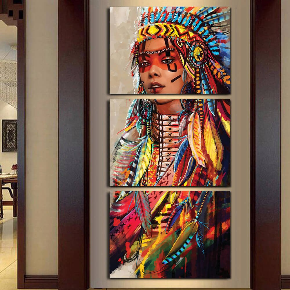 3 Panel Native American Indian Girl With Feathered Headdress Modern Decor Canvas Wall Art HD Print