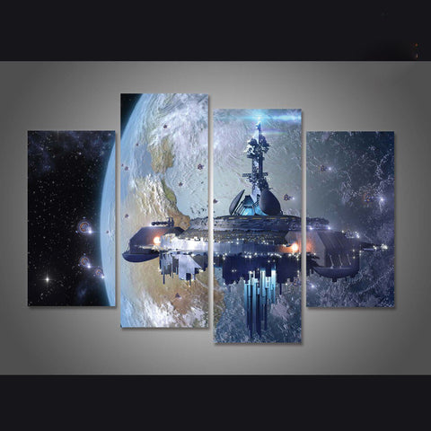 4 Panel Sci Fi Space Station Modern Décor Wall Art Canvas HD Print