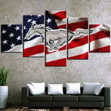 5 Panel US Flag & Silver Mustang Modern Décor Wall Art Canvas HD Print