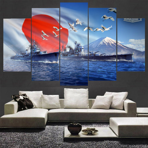5 Panel World of Warships Japan Modern Décor Wall Art Canvas HD Print