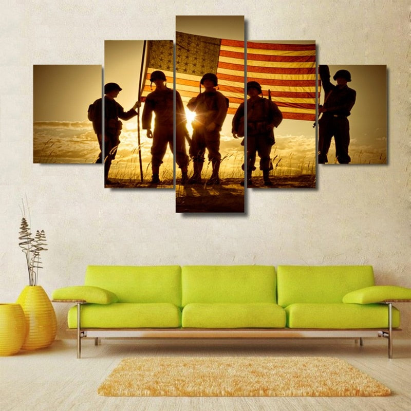 5 Panel Silhouette Of Soldiers With American Flag Modern Decor Canvas Wall Art HD Print