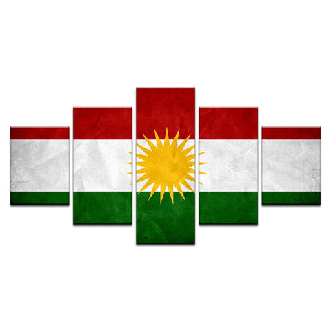 5 Panel Framed Flag of Kurdistan Modern Décor Canvas Wall Art HD Print