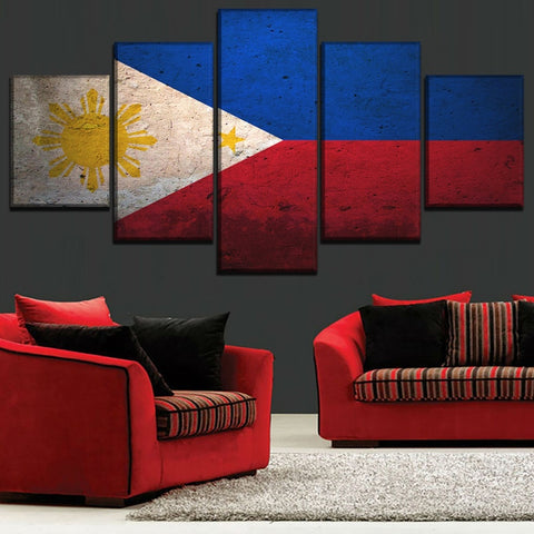 5 Panel Framed Philippines Flag Modern Décor Canvas Wall Art HD Print