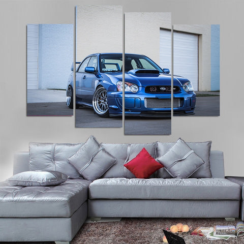 4 Panel Cool Blue Sabura WRX Modern Décor Wall Art Canvas HD Print