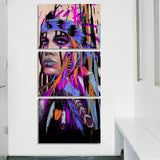 3 Panel Native American Indian Women With Feathered Headdress Modern Decor Canvas Wall Art HD Print