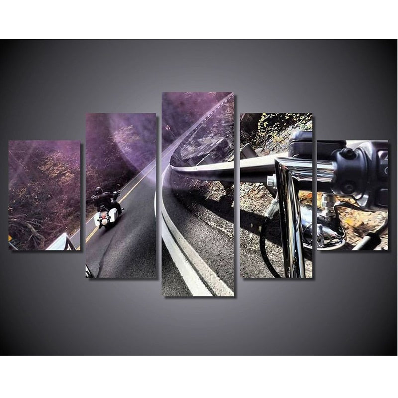 5 Panel Harley's Through the Forrest Modern Décor Wall Art Canvas HD Print