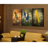 3 Panel Indian Feathers Modern Décor Wall Art Canvas HD Print