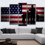 5 Panel American Flag with Soldiers Modern Decor Canvas Wall Art HD Print