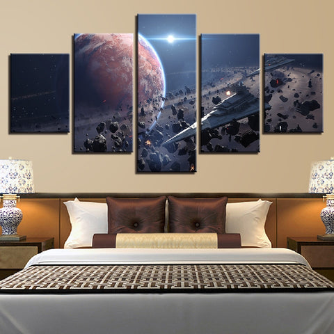 5 Panel Star Wars 2 Star Destroyers in Asteroids Modern Canvas Wall Art HD Print