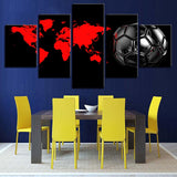 5 Panel Red World Map & Black Football Modern Décor Wall Art Canvas HD Print