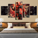 5 Panel Deadpool Super Hero Modern Decor Canvas Wall Art HD Print