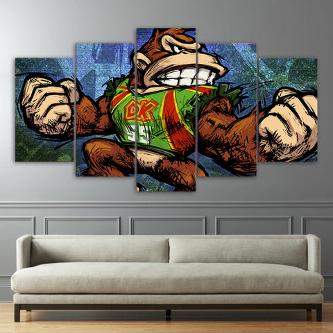 5 Panel Game Donkey Kong Modern Decor Canvas Wall Art HD Print